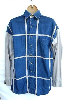 Panhandle Slim Mens Medium Shirt Blue Denim Cream Stripe Western Cowboy Rodeo