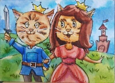 CAT ORIGINAL ACEO Painting Art Card Gift Queen King Game Love Gift Merry Decor