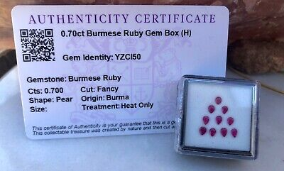 Genuine .70ct Fancy Cut Pear Burmese Ruby Triangle Design Gem Box Display W/COA
