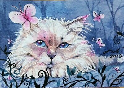 ORIGINAL ACEO ATC Painting Art HBD Gift Card Portrait Cat Beauty Home Decor