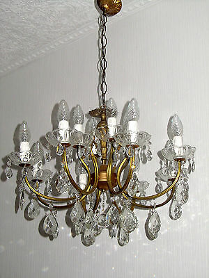 Antique French Brass Crystal Chandelier, Chandelier 12 Lamps