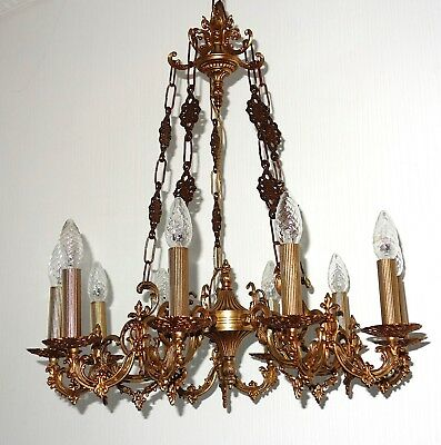 Antique French Brass Chandelier, Chandelier 10 Lamps