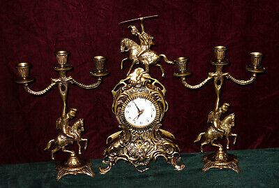 Antique French Brass Putti Watch, Fireplace Clock and Two Candle Holder