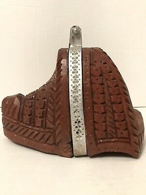 RARE Antique Hand Carved Fancy Wood Saddle Stirrup For Peruvian Parade Horse