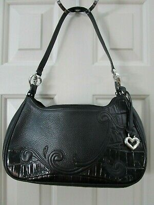 Brighton Moc Croc Black Leather Shoulder Bag Purse C887098