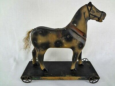 Primitive Early American - Brattleboro Horse on Wheels - Antique Wooden Pull Toy