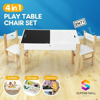 Kids Children Wooden Table Chairs Set Game Play Toys Storage Chalkboard Desk