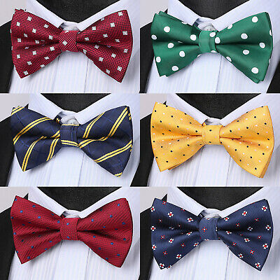 Hisdern Mens Classic Polka Dot Bow Tie  Formal Wedding Party Butterfly Pre Tied