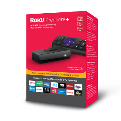Roku Premiere+ 4K HD HDR Streaming Player with voice remote include HDMI cable