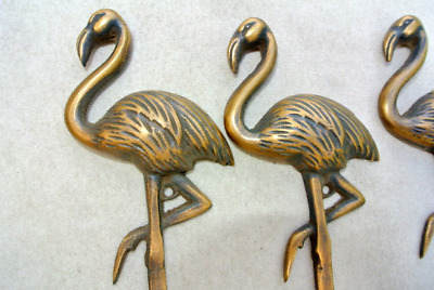 "3 FLAMINGO hooks 5.1/2 "" long aged solid real heavy BRASS old vintage style"