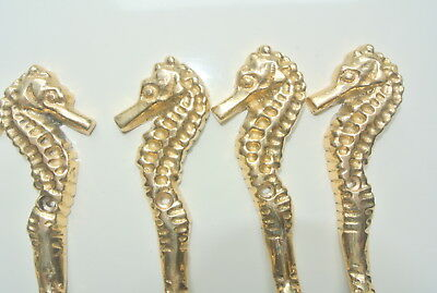 4 small SEAHORSE solid pure brass polished HOOKS COAT wall mounted beach 8 cm