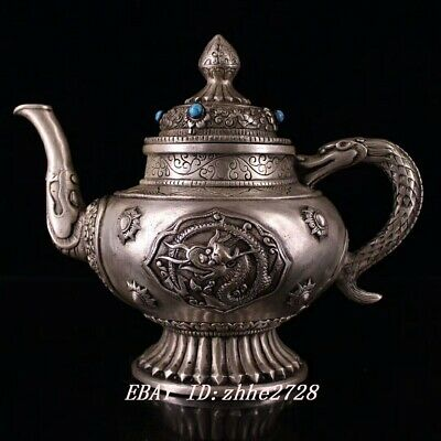 """8"""" Chinese pure copper hand-made silver-plated gem Tibetan style jug"""