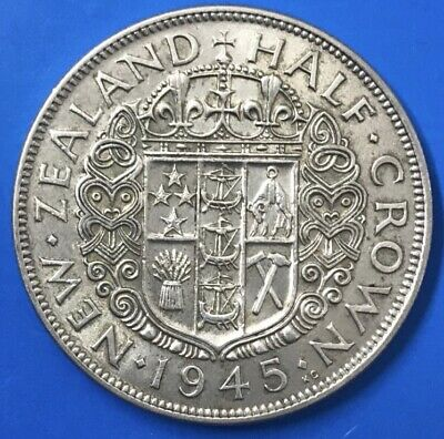 1945 New Zealand Half Crown VF