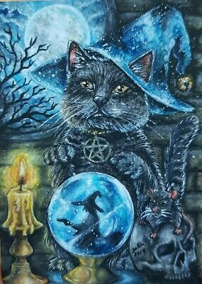 CAT ORIGINAL ACEO Painting Art Witch Magic Halloween Decor Black Gift Card Moon