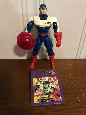 Toy Biz Marvel Action Hour Iron Man U.S. Agent Figure w/ shield and badge