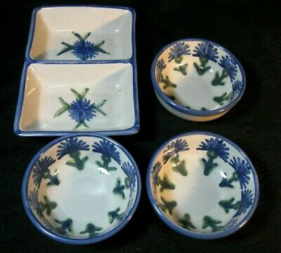 Louisville Stoneware Kentucky Made Blue Cornflower Serving Dish & 3 Cereal Bowls