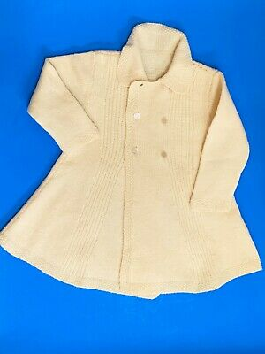 Vintage Baby Toddler Hand Knitted Lemon Double-Breasted Coat Jacket,  27cm Chest