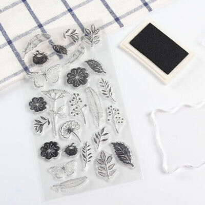 Flower Butterfly Plant Transparent  Silicone Rubbers Stamp  Scrapbooking