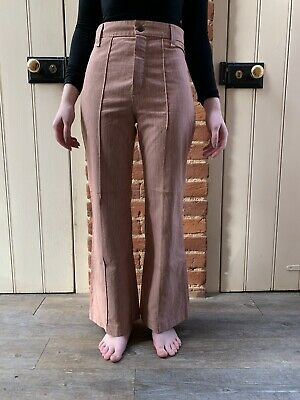"Vtg 70s High Waist Red Brown White Fine Striped Flared Trousers 25"" Waist Short"