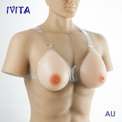 Silicone Breast Forms Straps On E Cup Drag Queen CD Bra Pads Enhancers