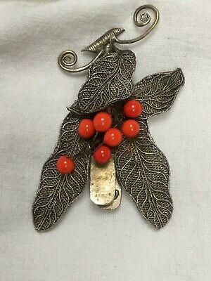 Vintage Chinese Export Art Deco Filigree & faux red coral Dress Clip brooch