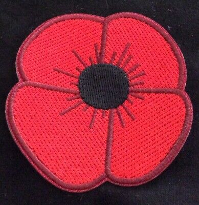 POPPY [LEST WE FORGET]  REMEMBRANCE  IRON ON PATCH, BUY 2 We Send Three