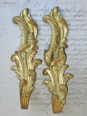 Tieback Hooks Antique French Chateau Chic Gilt Bronze Ormolu Amazing Fab Pair