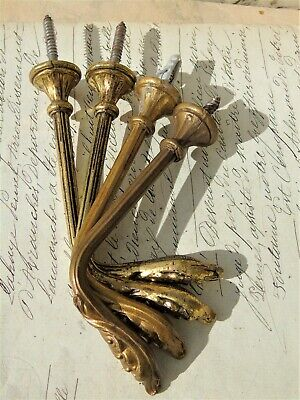 VINTAGE FRENCH TIEBACK HOOKS  METAL GILT BRASS BRONZE ORMOLU 2prs 4 INCHES LONG