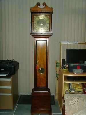 Vintage Mahogany non chiming long case clock with solid brass face