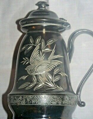 Antique Syrup Pitcher Wm. Rogers #1513 Quadruple Silverplate Etched Bird 1880'S