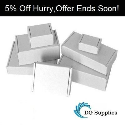 White Die Cut Folding Lid Postal Cardboard Boxes Small Mailing Shipping Carton'`
