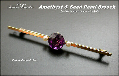 Amethyst & Seed Pearl Brooch 15ct Yellow Gold  c1880/1910 beautiful Antique