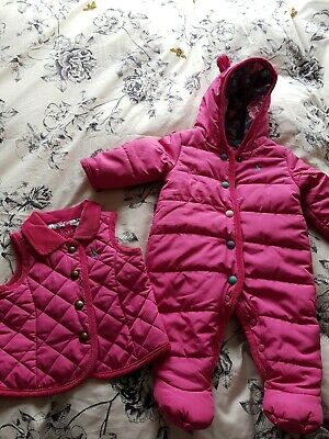 Joules girls all-in-one/snowsuit and bodywarmer 0-3 months
