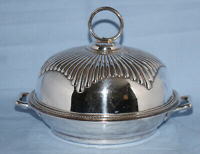 Antique Silver Plate Mappin & Webb 1887 Muffin Serving Dish Fluted Lid