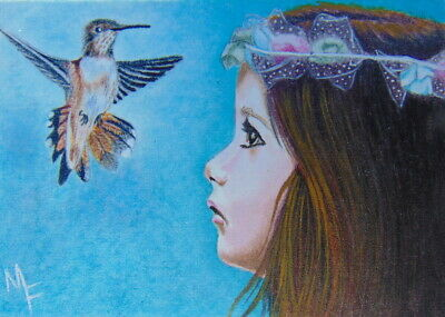 ACEO Original Miniature Painting Girl Hummingbird Portrait Watercolor Art