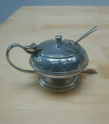 Antique Silver Salt Cellar or Mustard Sauce Pot, beautiful pattern