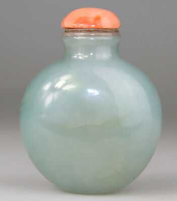 Antique Chinese Snuff Bottle Green Celadon Jade Jadeite Coral Top Qing 18Th 19Th