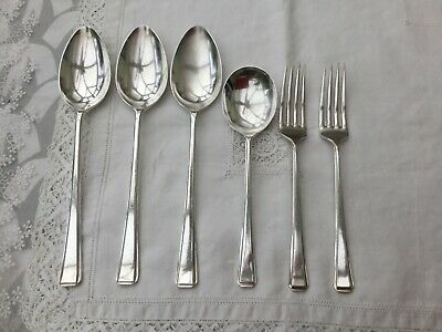 ART DECO 6PCE CUTLERY BUNDLE FORKS & SPOONS - SILVER PLATED SHEFFIELD c1940s