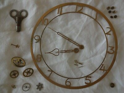 Antique/Vintage assorted clock spares - hands, cogs, key - repairs or steampunk