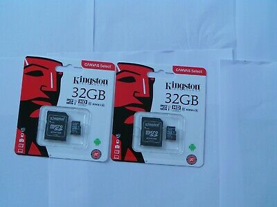 2 x 32gb kingston sd card with adapter