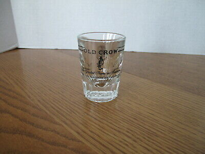 Vintage Old Crow Shot Glass Bourbon Whiskey Heavy Glass - Barware