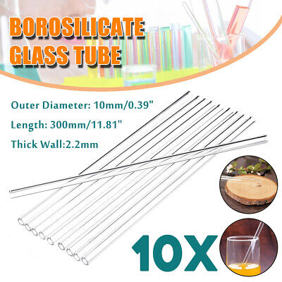 10Pcs 300mm 10mm 2.2mm Thick Wall Borosilicate Glass Blowing Tubes Lab School