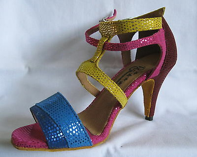 Ladies Blue/Yellow/Pink Ballroom, Latin, Salsa Dance shoes - Size 3.5