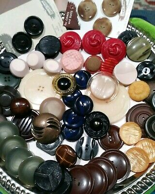 65 Vintage Coat Buttons - Early Plastics,BIG,Sets and Singles