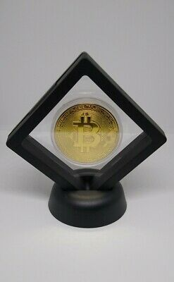 Commemorative Bitcoin Collectable Gold Plated Coin In Floating Display Stand