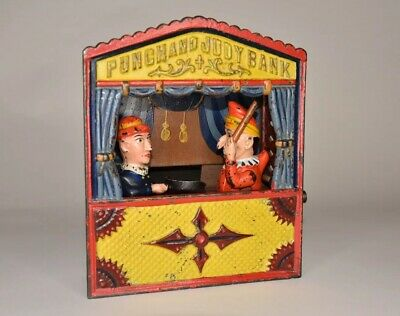 Antique Cast Iron Shepard Punch & Judy Large Letter Mechanical Bank