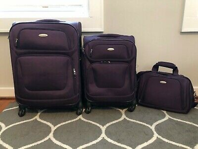 Purple Samsonite 3 piece luggage set