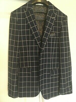 SUITSUPPLY Men's Suit Size 38R Grey Pinstriped Traveler