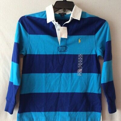 Polo Ralph Lauren Boys Rugby Shirt Blue Striped Long Sleeves 100% Cotton M New
