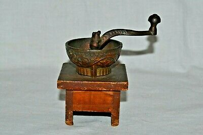 Vintage Small Spice / Coffee Grinder Antique Wooden Base